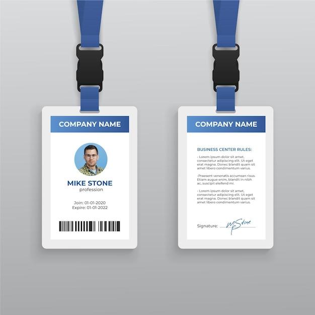 Abstrakte id-kartenvorlage mit foto Premium Vektoren