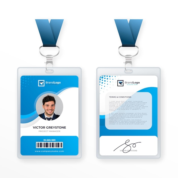 Abstrakte id-kartenvorlage Premium Vektoren