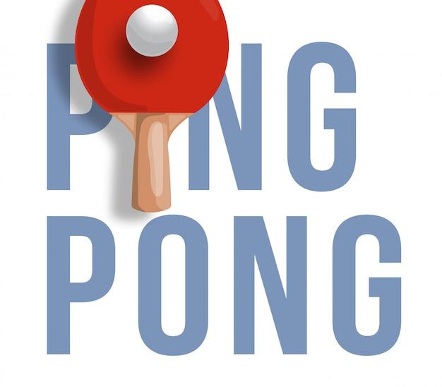 Abstrakte illustration des tischtennisschlägers auf hellem hintergrund. text-tischtennis. tischtennis. Premium Vektoren