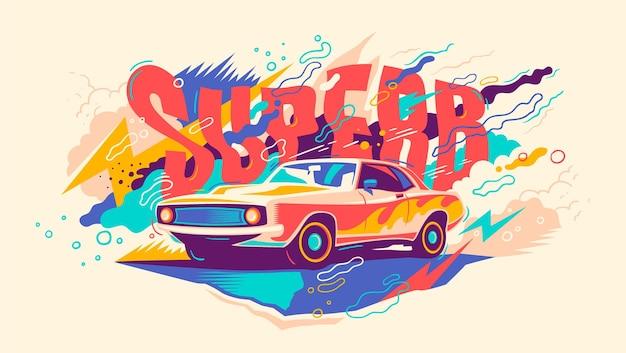 Abstrakte illustration mit retro-auto. Premium Vektoren