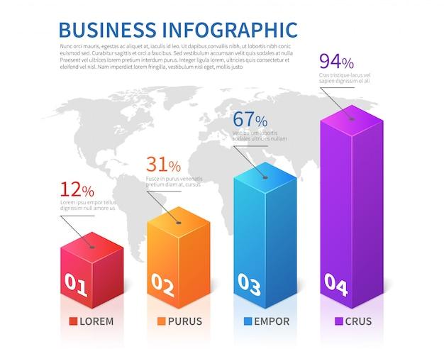 Abstrakte infographic stangenfinanzierung der schablone 3d mit weltkartevektordiagramm Premium Vektoren
