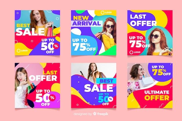 Abstrakte instagram verkaufspostensammlung auf rosa hintergrund Kostenlosen Vektoren