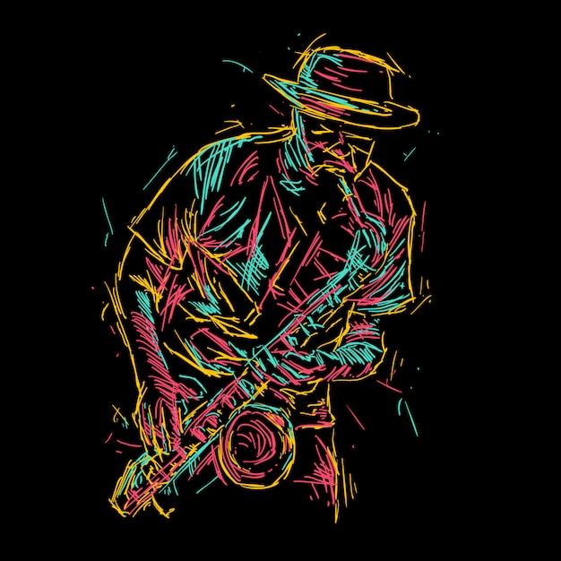 Abstrakte jazz-saxophon-spielerabbildung Premium Vektoren