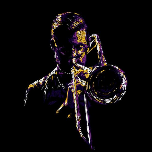Abstrakte jazz-trompeter-abbildung Premium Vektoren
