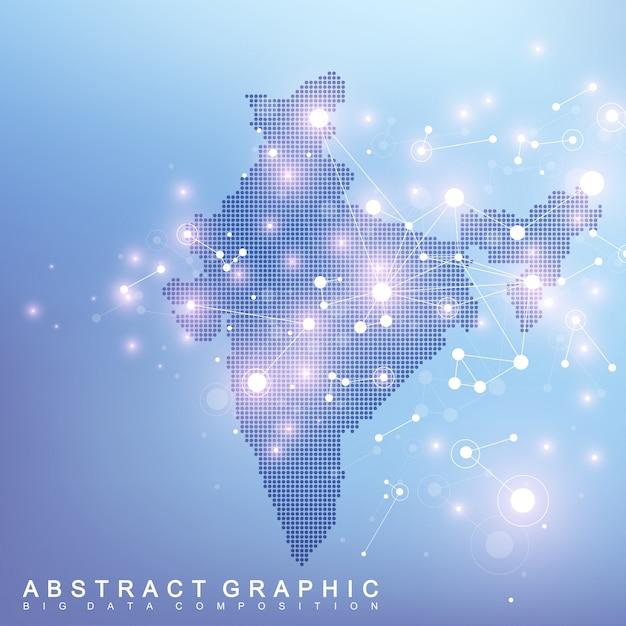 Abstrakte karte der globalen netzwerkverbindung des indischen landes. futuristischer plexus der hintergrundtechnologie Premium Vektoren