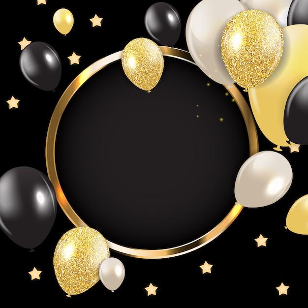 Abstrakte karte mit goldenem rahmen und ballonen Premium Vektoren