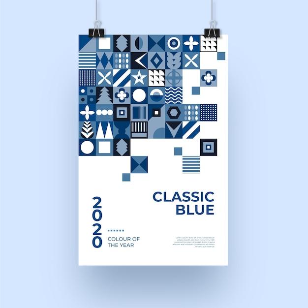 Abstrakte klassische blaue plakatschablone Kostenlosen Vektoren