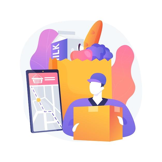 Abstrakte konzept-vektorillustration des lebensmittelabholservice. online-bestellung von lebensmitteln, virengeschütztes einkaufen, frische und sichere produkte, express-lieferung von lebensmitteln, abstrakte metapher für e-commerce. Kostenlosen Vektoren