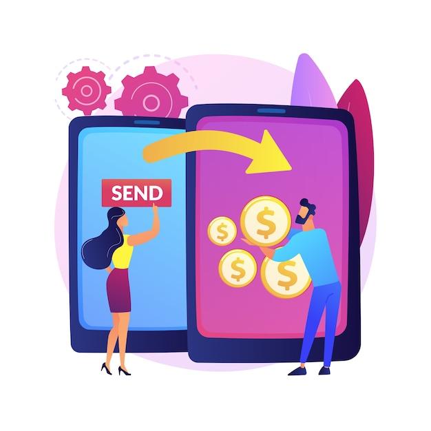 Abstrakte konzeptdarstellung der geldüberweisung. kreditkartenüberweisung, digitale zahlungsmethode, online-cashback-service, elektronische banküberweisung, weltweiter geldversand. Kostenlosen Vektoren