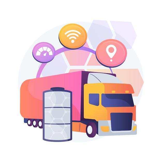 Abstrakte konzeptillustration der elektrischen lastwagen Kostenlosen Vektoren