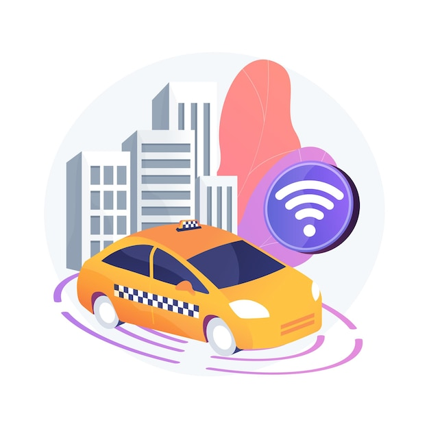 Abstrakte konzeptillustration des autonomen taxis Kostenlosen Vektoren