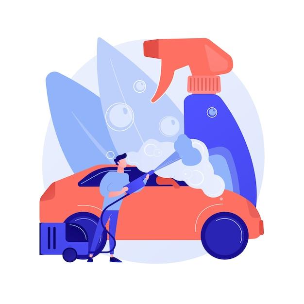 Abstrakte konzeptillustration des autowaschdienstes Kostenlosen Vektoren
