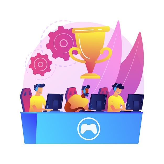 Abstrakte konzeptillustration des cybersport-teams. e-games-turnier, top-esport-team, cybersport-wetten, computerclub, kampfarena, pokal-qualifikation, teamleistung Kostenlosen Vektoren