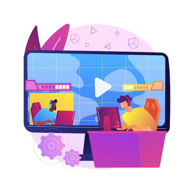 Abstrakte konzeptillustration des e-sportspiel-streamings. esport live-spielshow, online-streaming-geschäft, lösungen für die aufzeichnung wettbewerbsfähiger spiele, globale unterhaltung. Kostenlosen Vektoren