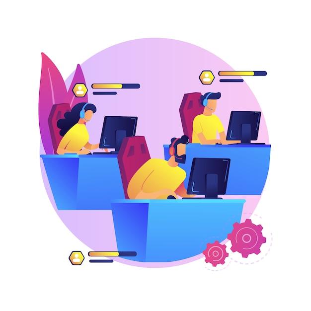 Abstrakte konzeptillustration des e-sportteams. gruppe von e-sport-spielern, pro-team, online-sportliga, gaming-meisterschaft, internetbrowser, zusammenspielen, zusammenarbeit. Kostenlosen Vektoren
