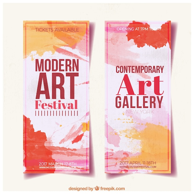 Abstrakte kunstgalerie banner Kostenlosen Vektoren