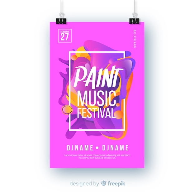 Abstrakte lackmusikfestival-plakatschablone Kostenlosen Vektoren