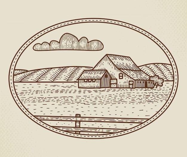 Abstrakte ländliche farm zeichen, abzeichen oder logo-vorlage. rustikale landschaftsskizze in einem rahmen mit retro-typografie. felder, barde und andere landschaftsgebäude vintage emblem. isoliert. Premium Vektoren