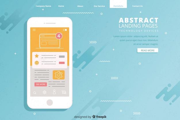 Abstrakte landing-pages mit technologiegeräten Kostenlosen Vektoren