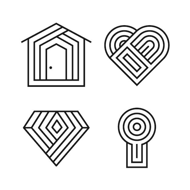 Abstrakte lineare logo-schablonensammlung Premium Vektoren