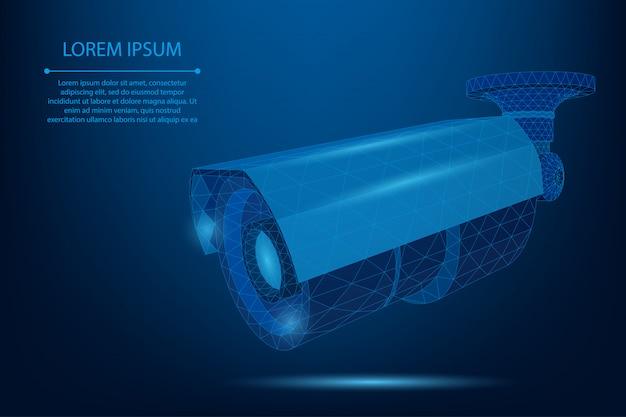 Abstrakte linie und punkt straßenkamera low poly camcorder vorlage Premium Vektoren