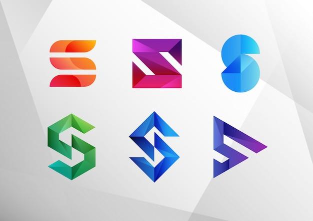 Abstrakte logo-sammlung mit farbverlauf s. Premium Vektoren