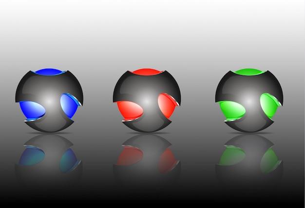 Abstrakte logos der kugel 3d, die satz schnitzen. logo-kugeln. Premium Vektoren