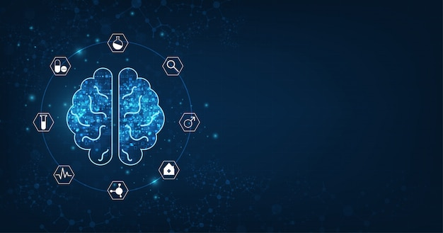 Abstrakte menschliche gehirnform einer künstlichen intelligenz auf dunkelblauem Premium Vektoren