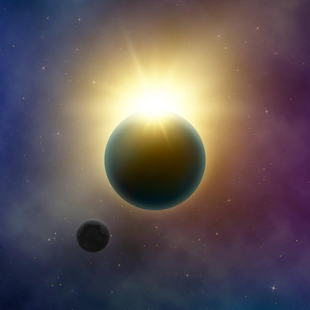 Abstrakte milchstraße. sonnenfinsternis. die sonne scheint hinter dem planeten erde und mond. sternenhimmel. hintergrundillustration Premium Vektoren