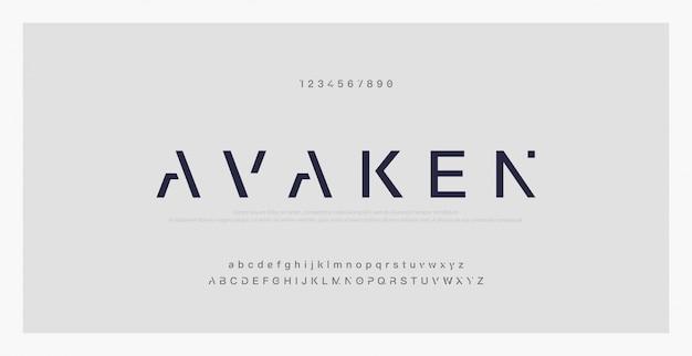 Abstrakte minimale moderne alphabetgüsse. typografie Premium Vektoren