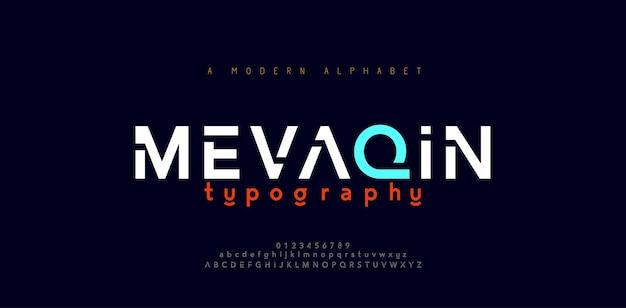 Abstrakte minimale moderne alphabetschriftarten. typografie minimalistische urbane digitale mode zukunft kreative logo-schriftart. Premium Vektoren