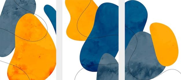 Abstrakte minimalistische flyer im fließenden aquarellstil Kostenlosen Vektoren