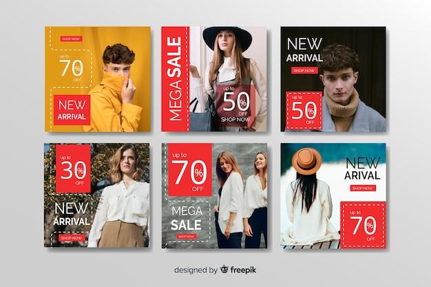 Abstrakte mode verkauf instagram beitragssammlung Kostenlosen Vektoren