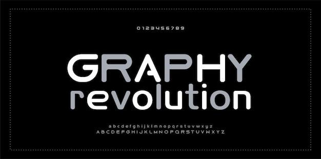 Abstrakte moderne alphabetzahlguß typografie Premium Vektoren