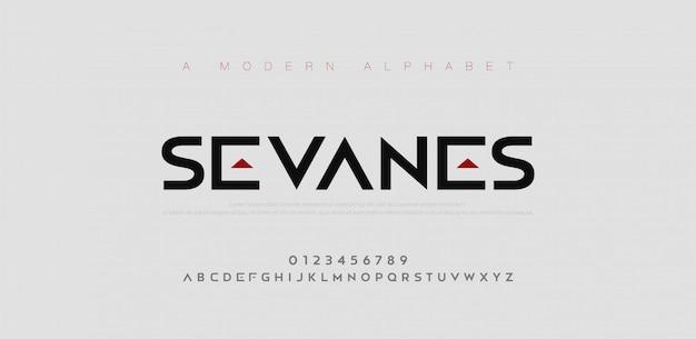 Abstrakte moderne städtische alphabetschriftarten. typografie sport, einfach, technologie, mode, digital, zukünftige kreative logo-schriftart. Premium Vektoren