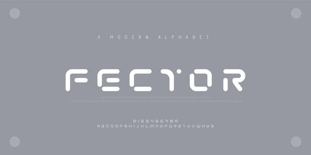Abstrakte moderne städtische alphabetschriftarten. typografie sport, technologie Premium Vektoren