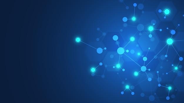 Abstrakte moleküle auf dunkelblauem hintergrund. molekülstrukturen oder dna-strang, neuronales netzwerk, gentechnik. wissenschaftliches und technologisches konzept. Premium Vektoren