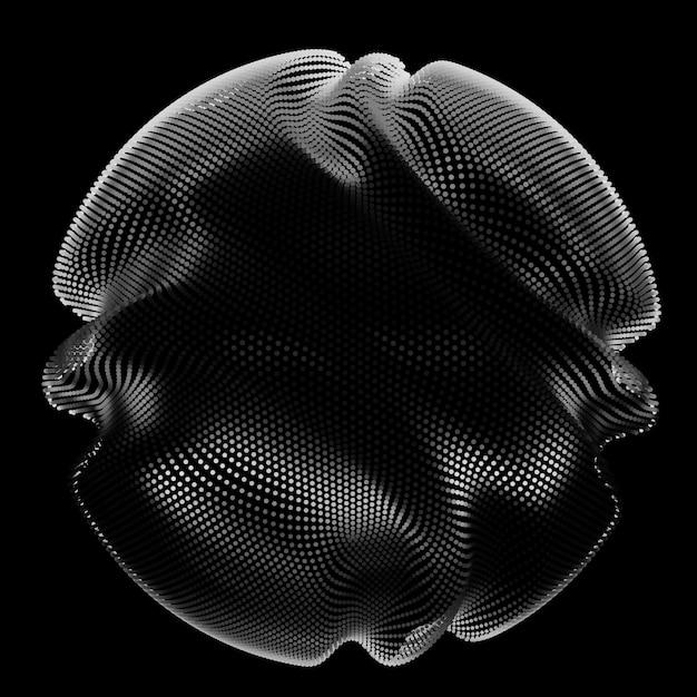 Abstrakte monochrome netzkugel auf dunklem hintergrund Kostenlosen Vektoren