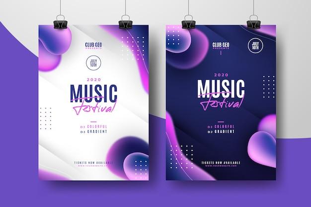 Abstrakte musik festival poster vorlage pack Kostenlosen Vektoren