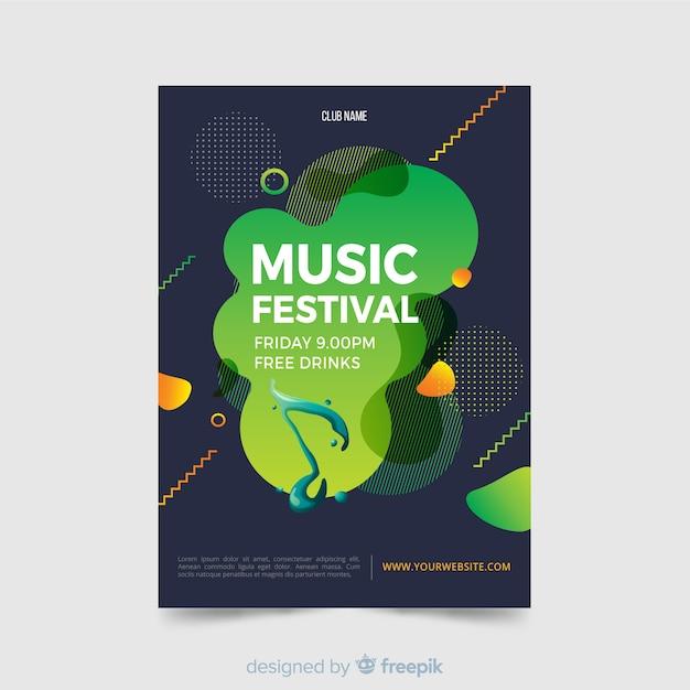 Abstrakte musikfestival-plakatschablone Kostenlosen Vektoren