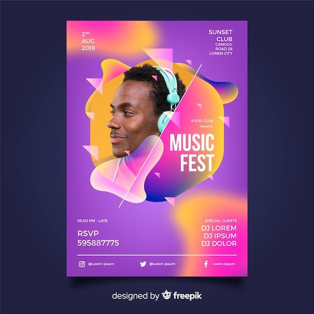 Abstrakte musikfestivalschablone mit foto Kostenlosen Vektoren