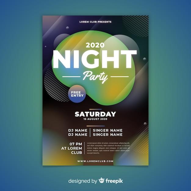 Abstrakte nacht party plakat vorlage Kostenlosen Vektoren