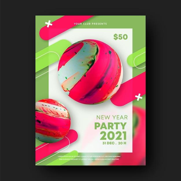 Abstrakte neue jahr 2021 party flyer vorlage Premium Vektoren