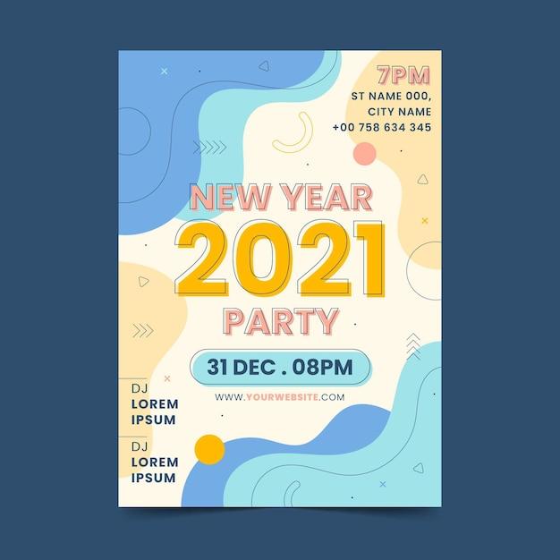 Abstrakte neujahrsfeierplakatvorlage des neuen jahres 2021 Kostenlosen Vektoren