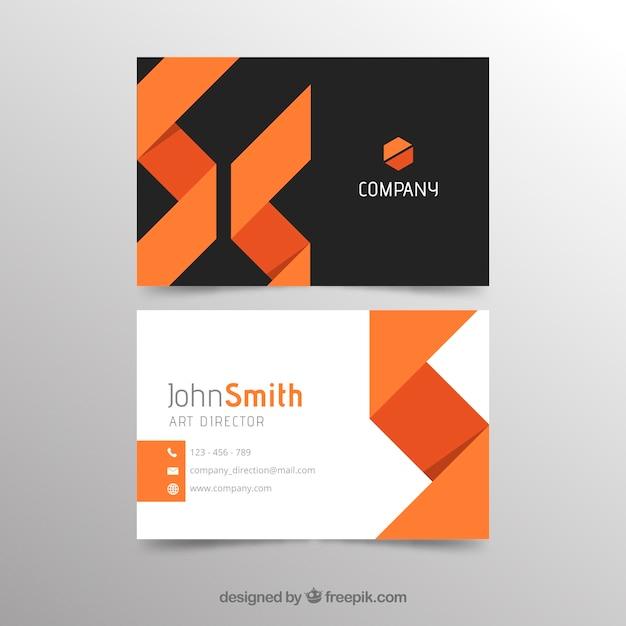 Abstrakte orange und schwarze visitenkarteschablone Kostenlosen Vektoren