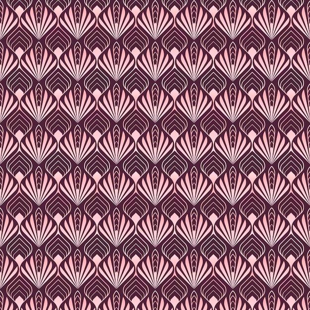 Abstrakte palmenformen des roségold-art-deco-musters Premium Vektoren