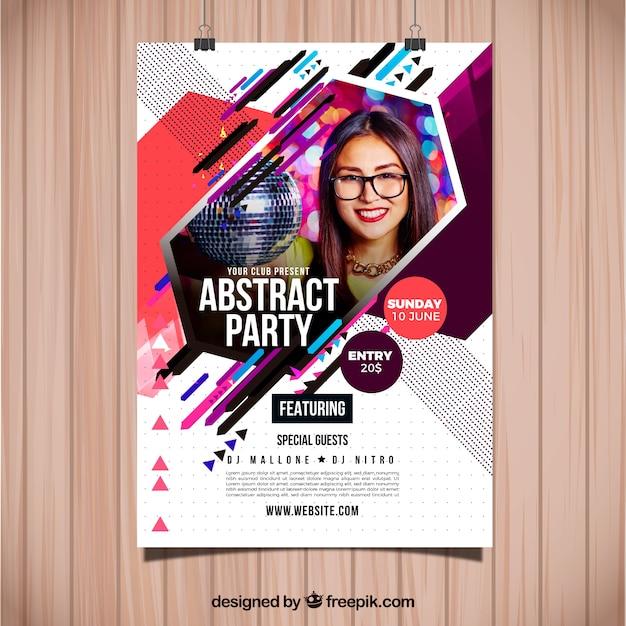 Abstrakte Parteiplakatschablone mit Foto Kostenlose Vektoren
