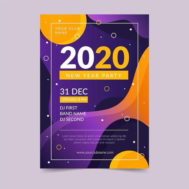 Abstrakte party-flugblattschablone des neuen jahres 2020 Kostenlosen Vektoren