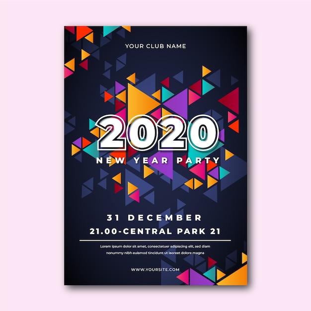 Abstrakte party-plakatschablone des neuen jahres 2020 Kostenlosen Vektoren