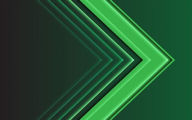 Abstrakte pfeilrichtung des grünen lichtes auf dunklen modernen futuristischen hintergrund. Premium Vektoren